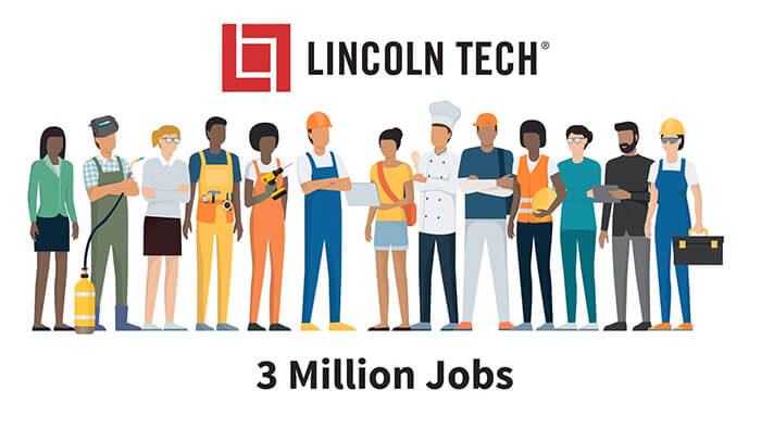 Video play button over a photo montage of Lincoln Tech students preparing for careers in fields such as automotive, skilled trades, health sciences, information technology, cosmetology, and culinary